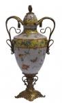 Casa Padrino Porzellan Vase mit Deckel und 2 Griffen H. 44, 2 cm - Luxus Vase