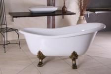 Freistehende Luxus Badewanne Jugendstil Roma Weiß/Altgold 1470mm - Barock Badezimmer - Retro Antik Badewanne