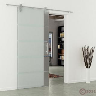 Glasschiebetür 1025x2050 x 8 mm Streifen waagerecht Edelstahlsystem Stangengriff - Vorschau 3