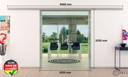 Doppel-Glasschiebetür Klarglas 2 x 1025 x 2050 mm komplett Edelstahl-Stangengriff - Vorschau 4