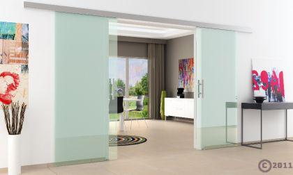 Doppel-Glasschiebetür Klarglas 2 x 775 x 2050 mm komplett Edelstahl-Stangengriff - Vorschau 3