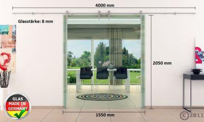 2 Glasschiebetüren Klarglas 1550x2050mm Gesamtmaß edel - Vorschau 4