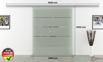 Doppel-Glasschiebetür 2x900x2050mm 2-flügelig gestreift - Vorschau 4