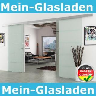 Doppel-Glasschiebetür 2x900x2050mm 2-flügelig gestreift - Vorschau 1