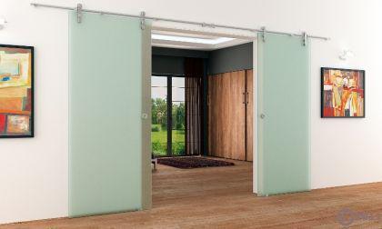 2 Glasschiebetüren Voll-Satiniert 1550x2050 Muschelgr. - Vorschau 3
