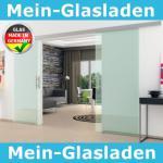 Doppel-Glasschiebetür Klarglas 2 x 775 x 2050 mm komplett Edelstahl-Stangengriff
