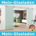 2 Glasschiebetüren Klarglas 1550x2050mm Gesamtmaß edel