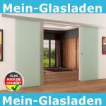 Doppel-Glasschiebetür 2 x 775 x 2050 mm 2-flügelig satiniert Muschelgriffe | NEU