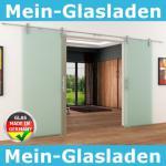2 Glasschiebetüren Voll-Satiniert 2050 x 2050 mm Muschelgriff Edelstahl-Schiene