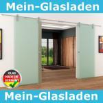 2 Glasschiebetüren Voll-Satiniert 1550x2050 Muschelgr.