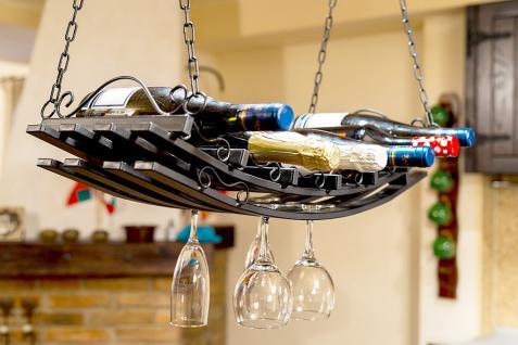 Deckenregal MD Weinregal aus Metall 67cm Hängeregal Flaschenhalter Flaschenregal