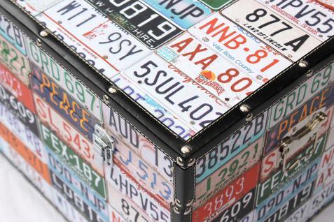 """Truhe Holztruhe """"Travel"""" 15686 M Kiste 60cm Shabby Kasten USA-Kennzeichen - Vorschau 2"""