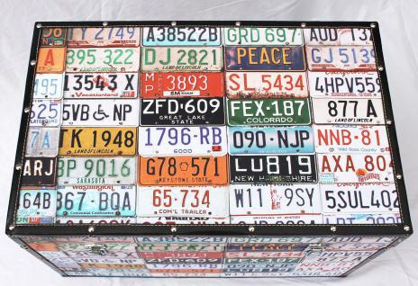 """Truhe Holztruhe """"Travel"""" 15686 M Kiste 60cm Shabby Kasten USA-Kennzeichen - Vorschau 3"""