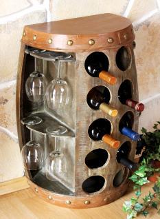 Weinregal Weinfass Nr.1547 Beistelltisch Schrank Fass aus Holz 65cm Weinbar Bar - Vorschau 1