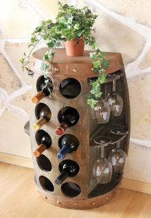 Weinregal Weinfass Nr.1547 Beistelltisch Schrank Fass aus Holz 65cm Weinbar Bar - Vorschau 2