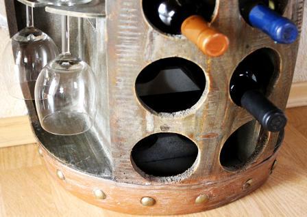 Weinregal Weinfass Nr.1547 Beistelltisch Schrank Fass aus Holz 65cm Weinbar Bar - Vorschau 4