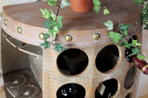 Weinregal Weinfass Nr.1486 Beistelltisch Schrank Fass aus Holz 72cm Weinbar Bar - Vorschau 3