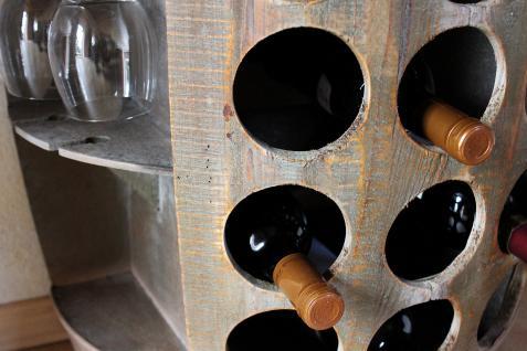 Weinregal Weinfass Nr.1486 Beistelltisch Schrank Fass aus Holz 72cm Weinbar Bar - Vorschau 4