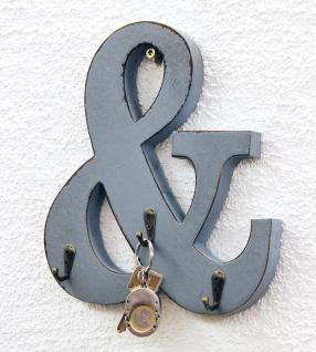 Buchstabe & mit 3 Schlüsselhaken 24cm YX-14B394 Vintage Shabby Hakenleiste Haken