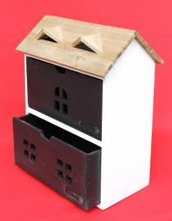 Minikommode Haus Kommode 14B410 Schrank mit 2 Schubladen 38cm Ordner Küchenregal - Vorschau 3