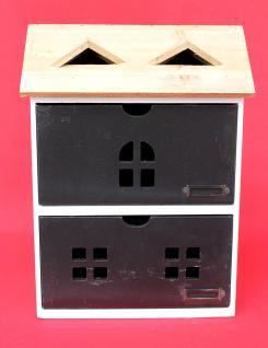 Minikommode Haus Kommode 14B410 Schrank mit 2 Schubladen 38cm Ordner Küchenregal - Vorschau 4