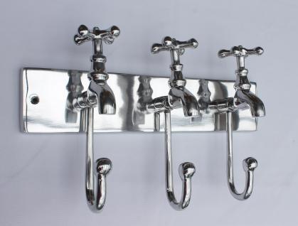 Garderobe Wasserhahn 14460 Wandgarderobe 38cm mit 3 Kleiderhaken Metall Haken
