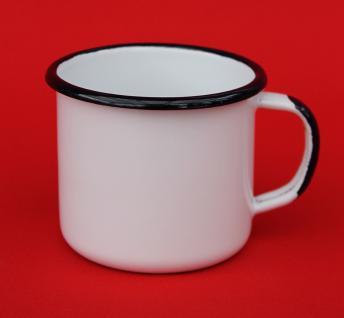 Emaille Tasse 501/8 Weiß Becher emailliert 8 cm Kaffeebecher Kaffeetasse Teetasse