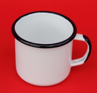 Emaille Tasse 501 8 Weiß Becher emailliert 8 cm