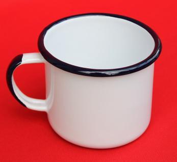 Emaille Tasse 501 10 Weiß Becher emailliert 10 cm