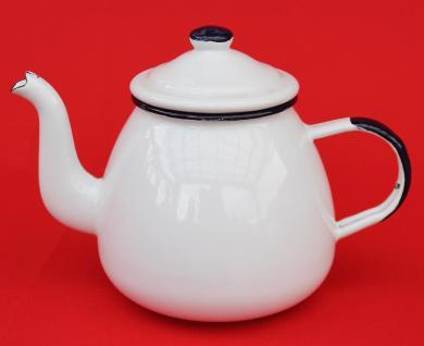 Teekanne 582AB Weiß emailliert 14cm Wasserkanne Kanne Kaffeekanne Emaille Nostalgie