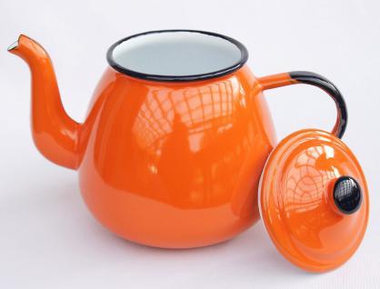 Teekanne 582AB Orange emailliert 14cm Wasserkanne Kanne Kaffeekanne Emaille Nostalgie - Vorschau 2