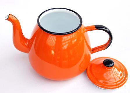Teekanne 582AB Orange emailliert 14cm Wasserkanne Kanne Kaffeekanne Emaille Nostalgie - Vorschau 3
