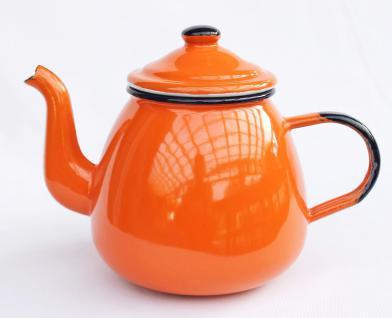 Teekanne 582AB Orange emailliert 14cm Wasserkanne Kanne Kaffeekanne Emaille Nostalgie - Vorschau 4