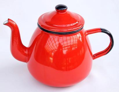 Teekanne 582AB Rot emailliert 14cm Wasserkanne Kanne Kaffeekanne Emaille Nostalgie - Vorschau 1
