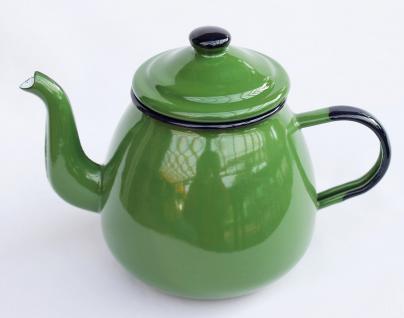 Teekanne 582AB Grün emailliert 14cm Wasserkanne Kanne Kaffeekanne Emaille Nostalgie
