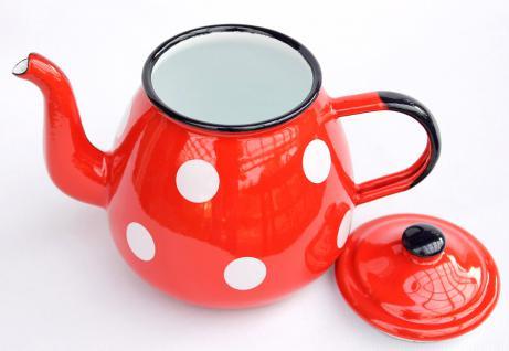 Teekanne 582AB Rot m. weißen Punkten emailliert 14cm Wasserkanne Kanne Kaffeekanne Emaille Nostalgie - Vorschau 3