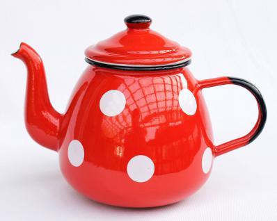 Teekanne 582AB Rot m. weißen Punkten emailliert 14cm Wasserkanne Kanne Kaffeekanne Emaille Nostalgie - Vorschau 4