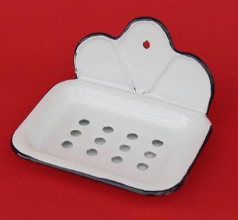 Seifenhalter 618 Weiß Seifenschale 13cm emailliert Landhaus Emaille Seifenspender - Vorschau 3