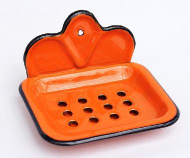 Seifenhalter 618 Orange Seifenschale 13cm emailliert Landhaus Emaille Seifenspender - Vorschau 1