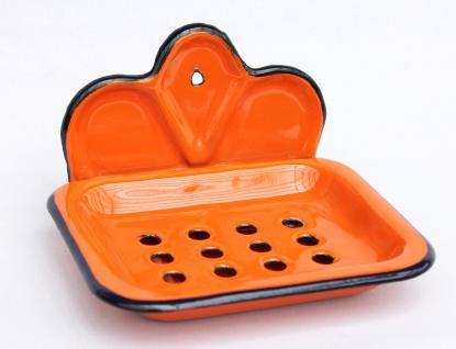 Seifenhalter 618 Orange Seifenschale 13cm emailliert Landhaus Emaille Seifenspender - Vorschau 3