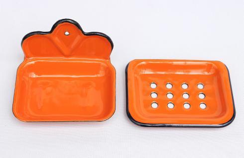 Seifenhalter 618 Orange Seifenschale 13cm emailliert Landhaus Emaille Seifenspender - Vorschau 4