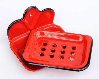 Seifenhalter 618 Rot Seifenschale 13cm emailliert Landhaus Emaille Seifenspender - Vorschau 2