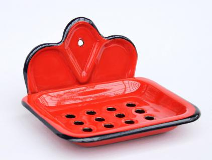 Seifenhalter 618 Rot Seifenschale 13cm emailliert Landhaus Emaille Seifenspender - Vorschau 3