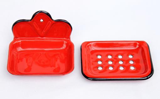 Seifenhalter 618 Rot Seifenschale 13cm emailliert Landhaus Emaille Seifenspender - Vorschau 4