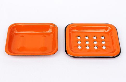 Seifenhalter 617A Orange Seifenschale 13cm emailliert Landhaus Emaille Seifenspender - Vorschau 4