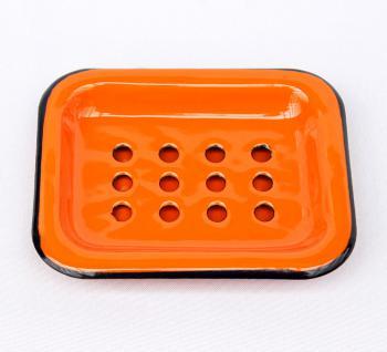 Seifenhalter 617A Orange Seifenschale 13cm emailliert Landhaus Emaille Seifenspender - Vorschau 5
