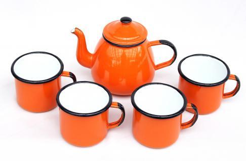 5 tlg. Set Teekanne + 4 Tassen 582AB+501/8 Orange emailliert Kaffeekanne Emaille Email