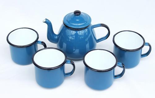 5 tlg. Set Teekanne + 4 Tassen 582AB+501/8 Blau emailliert Kaffeekanne Emaille Email