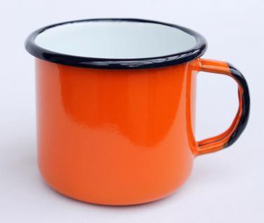 5 tlg. Set Kaffeekanne + 4 Tassen 578TB+501/8 Orange emailliert Teekanne Emaille Email - Vorschau 3