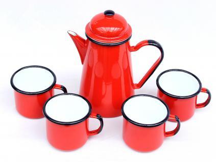 5 tlg. Set Kaffeekanne + 4 Tassen 578TB+501/8 Rot emailliert Teekanne Emaille Email